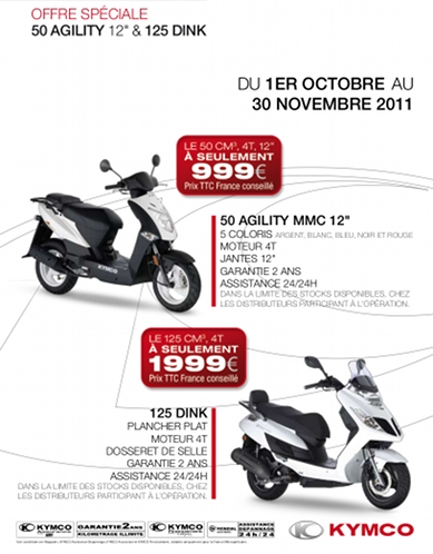 Kymco : offre Agility et Dink